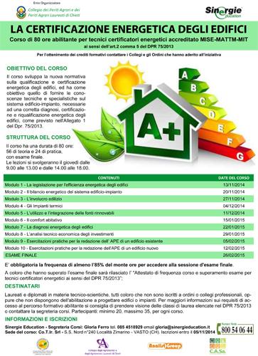 Locandina Corso Certificatore Energetico